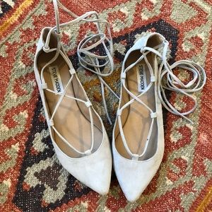 Steve Madden Eleanorr lace up flats gray size 8
